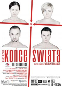 Plakat teatralny Końce świata Teatr HOTELOKO